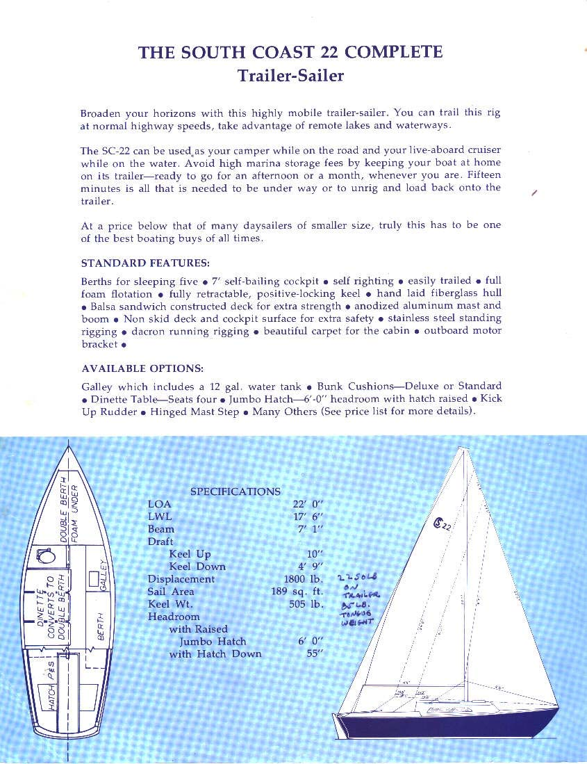 South Coast Sailboats - Original Documentation and Reference
